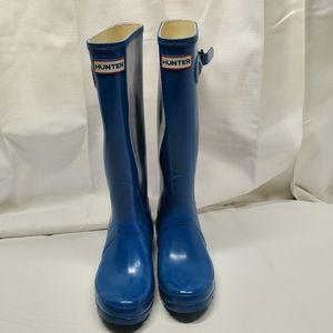 Hunter Original Tall Blue Rain Boots Woman's Sz 7